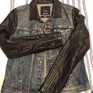Madewell/Veda Leather and Denim Mixed-media Jacket